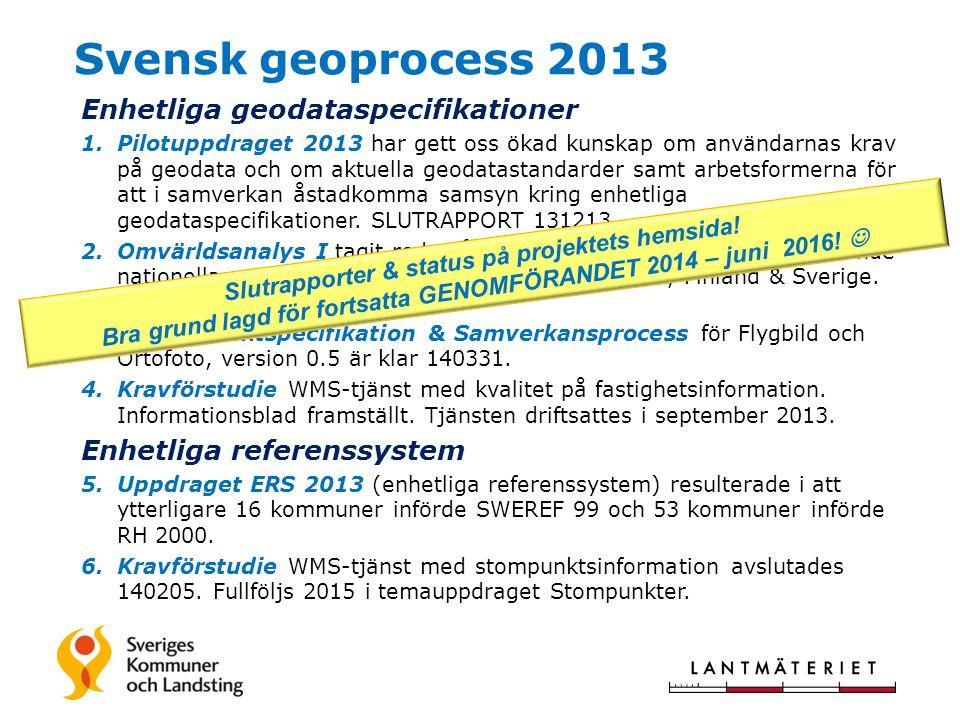 Svensk geoprocess 2013 Enhetliga geodataspecifikationer 1.Pilotuppdraget 2013 har gett oss ökad kunskap om användarnas krav på geodata och om aktuella