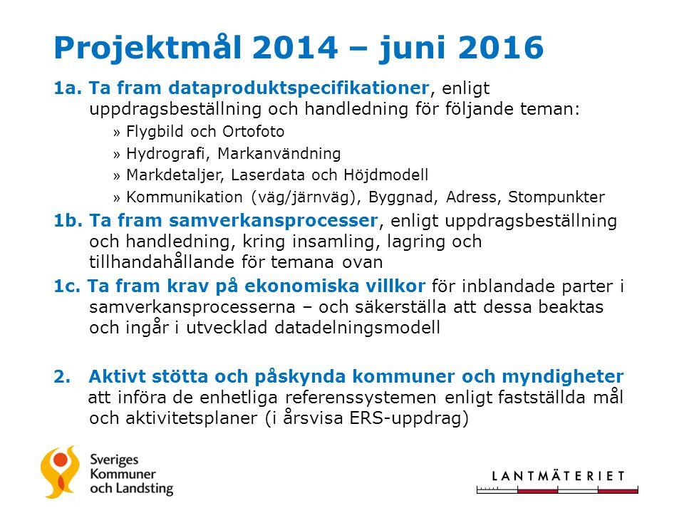Projektmål 2014 – juni 2016 1a. Ta fram dataproduktspecifikationer, enligt uppdragsbeställning och handledning för följande teman: » Flygbild och Orto