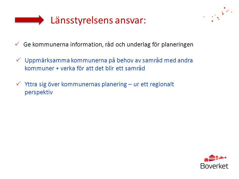 Länsstyrelsens ansvar:  Ge kommunerna information, råd och underlag för planeringen  Uppmärksamma kommunerna på behov av samråd med andra kommuner +