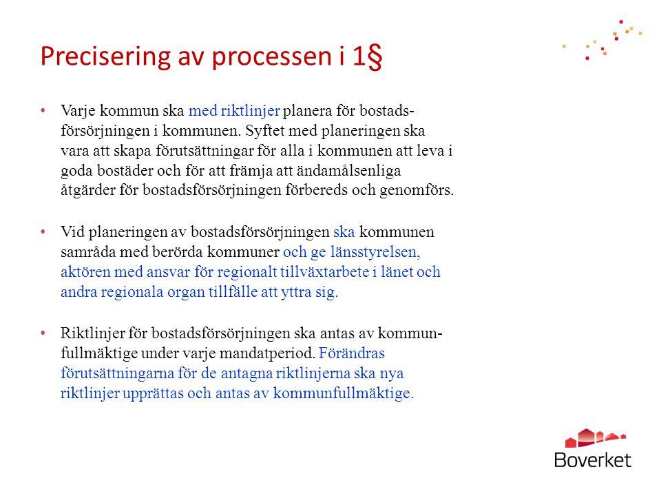 Precisering av processen i 1§ • Varje kommun ska med riktlinjer planera för bostads- försörjningen i kommunen. Syftet med planeringen ska vara att ska