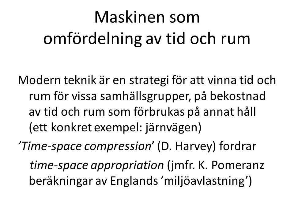 Maskinen som omfördelning av tid och rum Modern teknik är en strategi för att vinna tid och rum för vissa samhällsgrupper, på bekostnad av tid och rum som förbrukas på annat håll (ett konkret exempel: järnvägen) 'Time-space compression' (D.