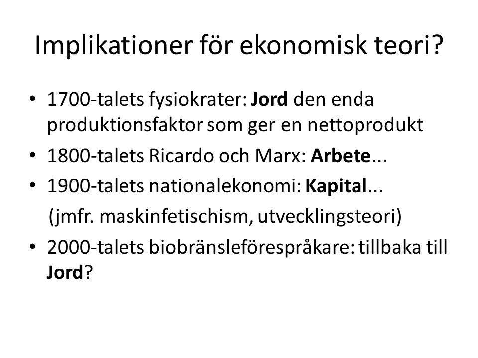 Implikationer för ekonomisk teori.