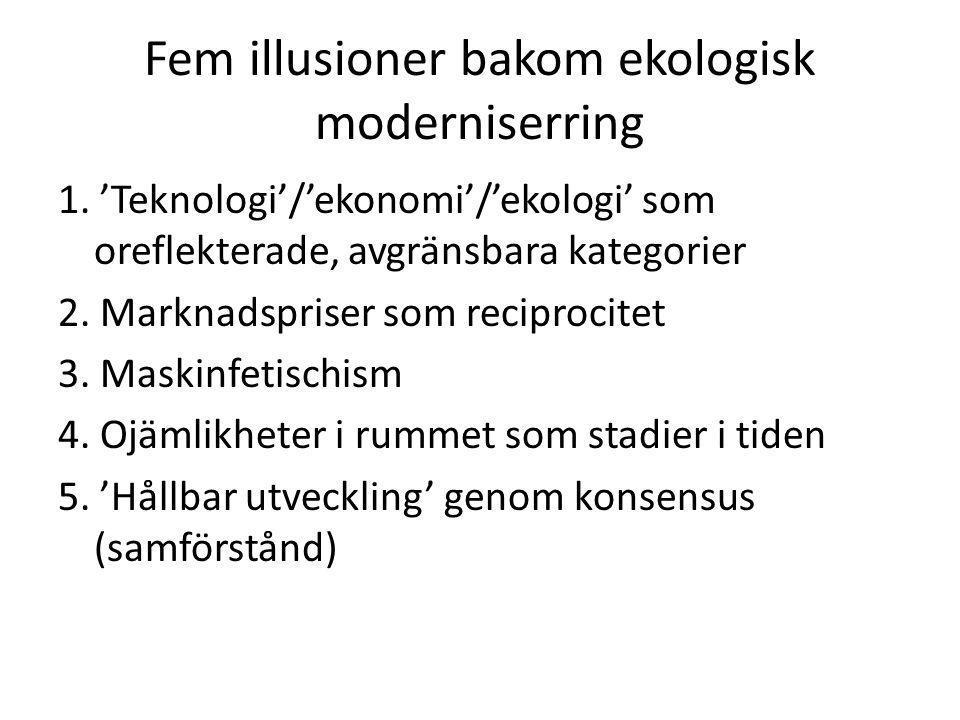 Fem illusioner bakom ekologisk moderniserring 1. 'Teknologi'/'ekonomi'/'ekologi' som oreflekterade, avgränsbara kategorier 2. Marknadspriser som recip