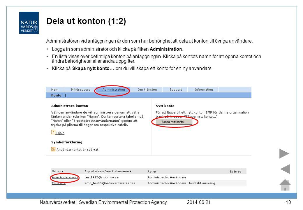 2014-06-21 Naturvårdsverket | Swedish Environmental Protection Agency 10 Dela ut konton (1:2) Administratören vid anläggningen är den som har behörigh