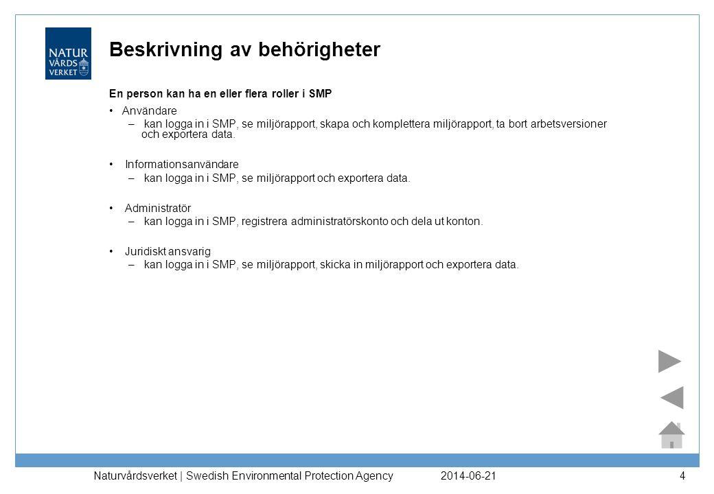 2014-06-21 Naturvårdsverket | Swedish Environmental Protection Agency 4 Beskrivning av behörigheter En person kan ha en eller flera roller i SMP •Anvä
