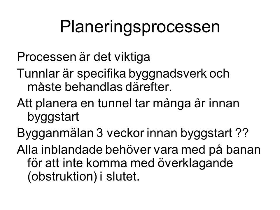 Planeringsprocessen Processen är det viktiga Tunnlar är specifika byggnadsverk och måste behandlas därefter. Att planera en tunnel tar många år innan
