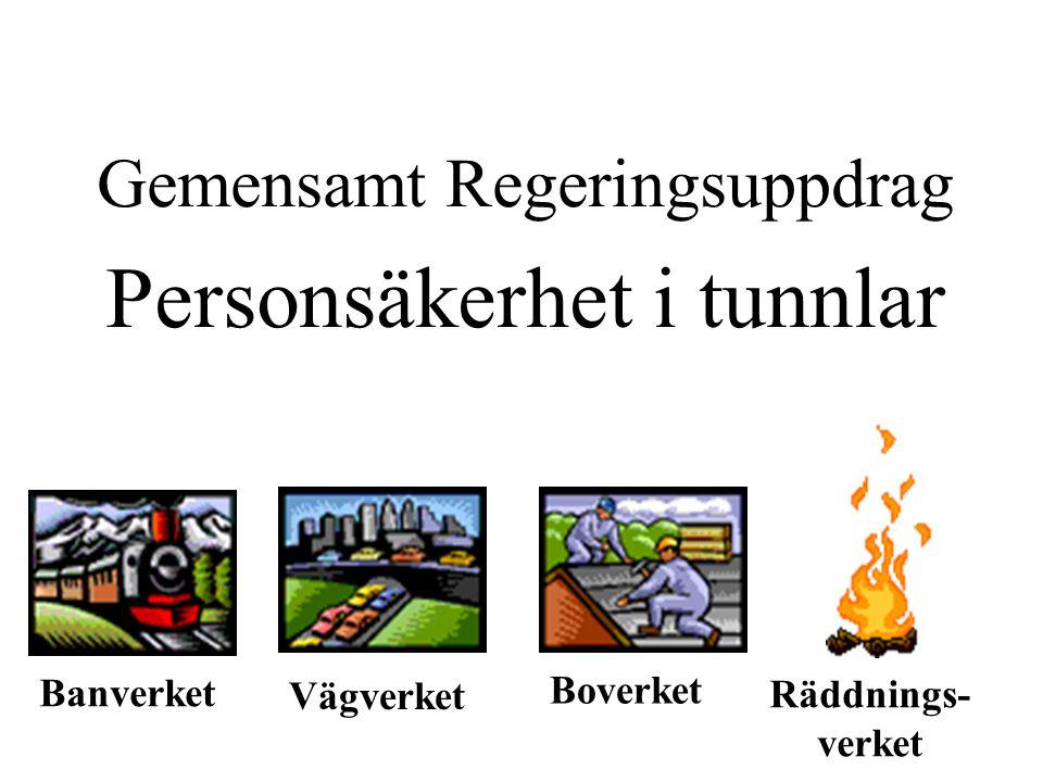 Gemensamt Regeringsuppdrag Personsäkerhet i tunnlar BanverketBoverket Vägverket Räddnings- verket