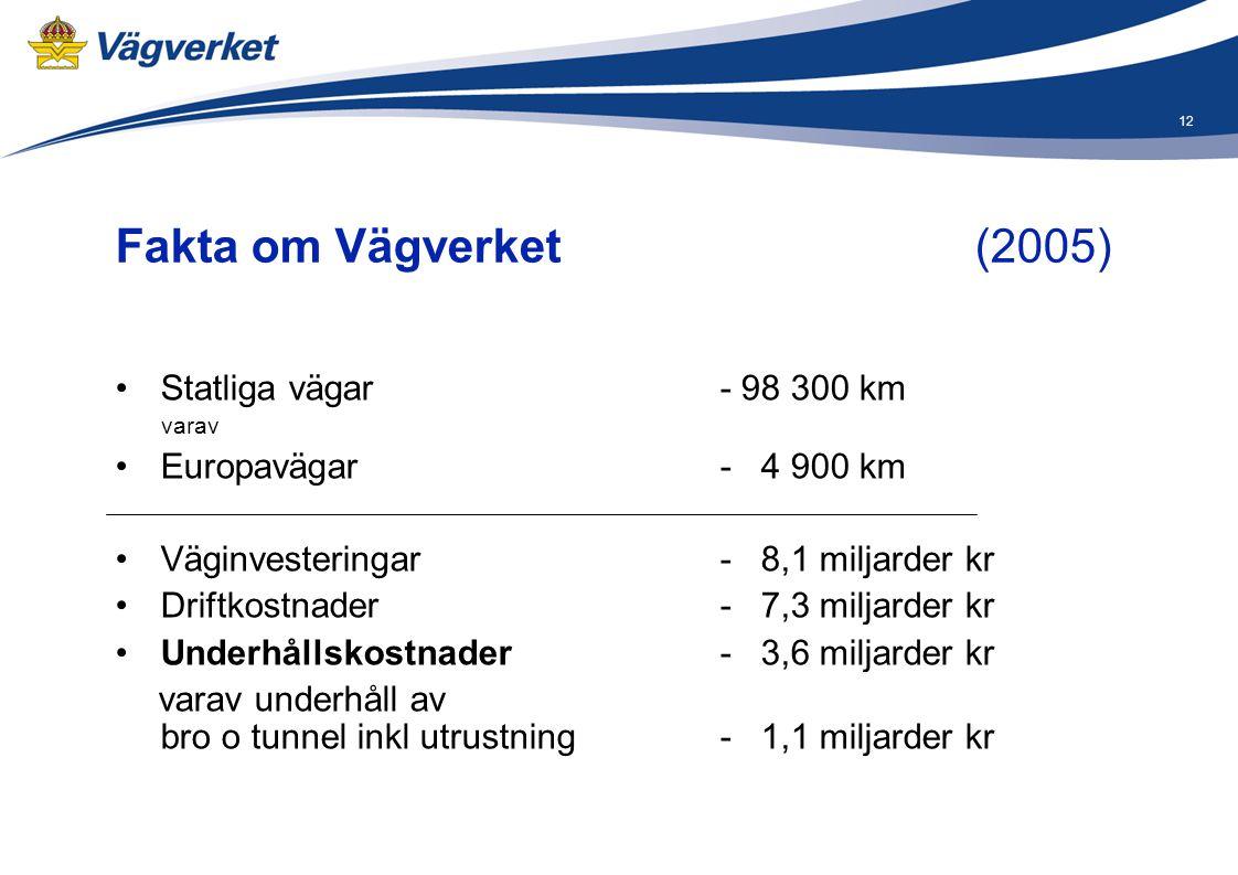 12 Fakta om Vägverket (2005) •Statliga vägar- 98 300 km varav •Europavägar - 4 900 km •Väginvesteringar - 8,1 miljarder kr •Driftkostnader - 7,3 milja