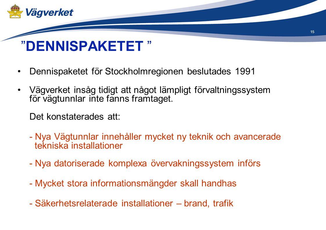 """15 """"DENNISPAKETET """" •Dennispaketet för Stockholmregionen beslutades 1991 •Vägverket insåg tidigt att något lämpligt förvaltningssystem för vägtunnlar"""