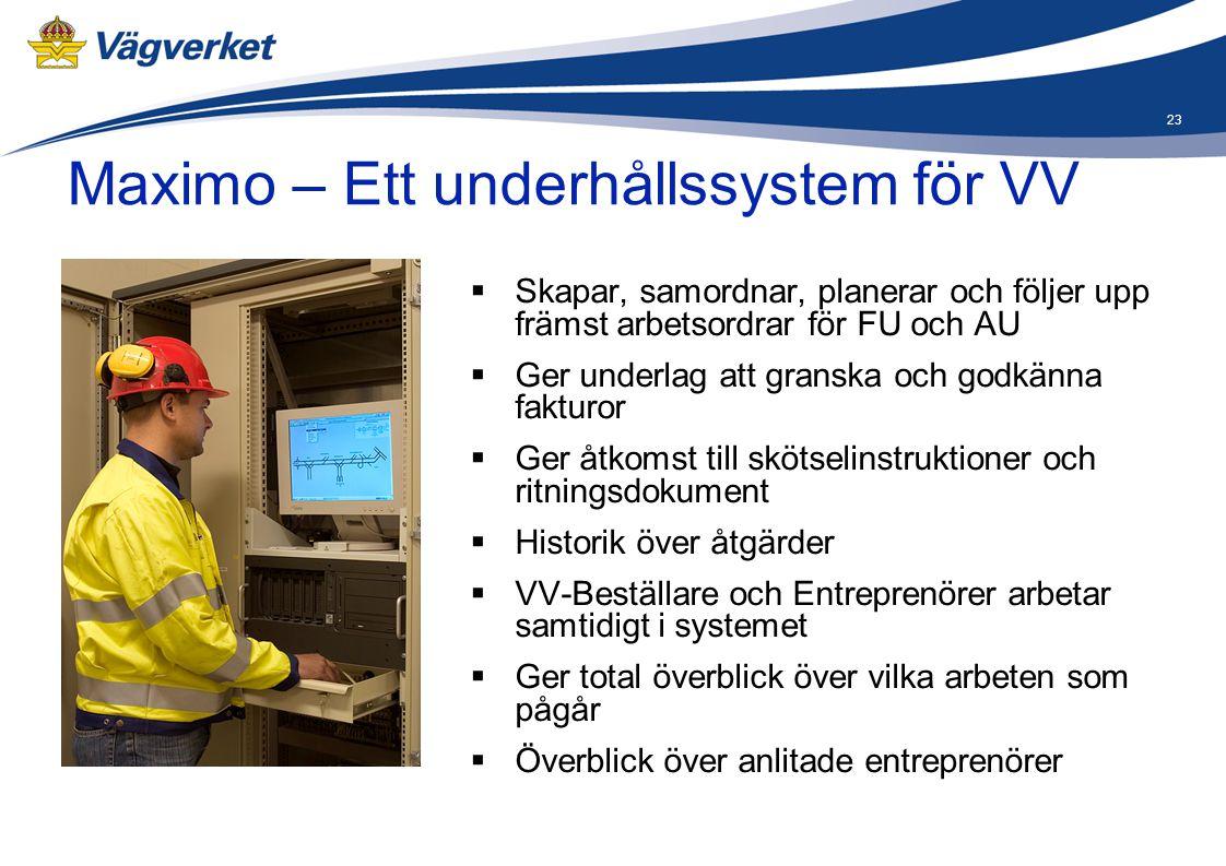23 Maximo – Ett underhållssystem för VV  Skapar, samordnar, planerar och följer upp främst arbetsordrar för FU och AU  Ger underlag att granska och