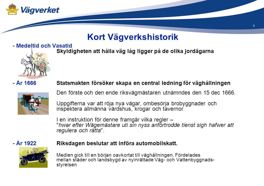 4 - År 1934 Ny väglag antogs (trädde i kraft 1 januari 1937) Naturaväghållningen och vägsynerna upphörde.