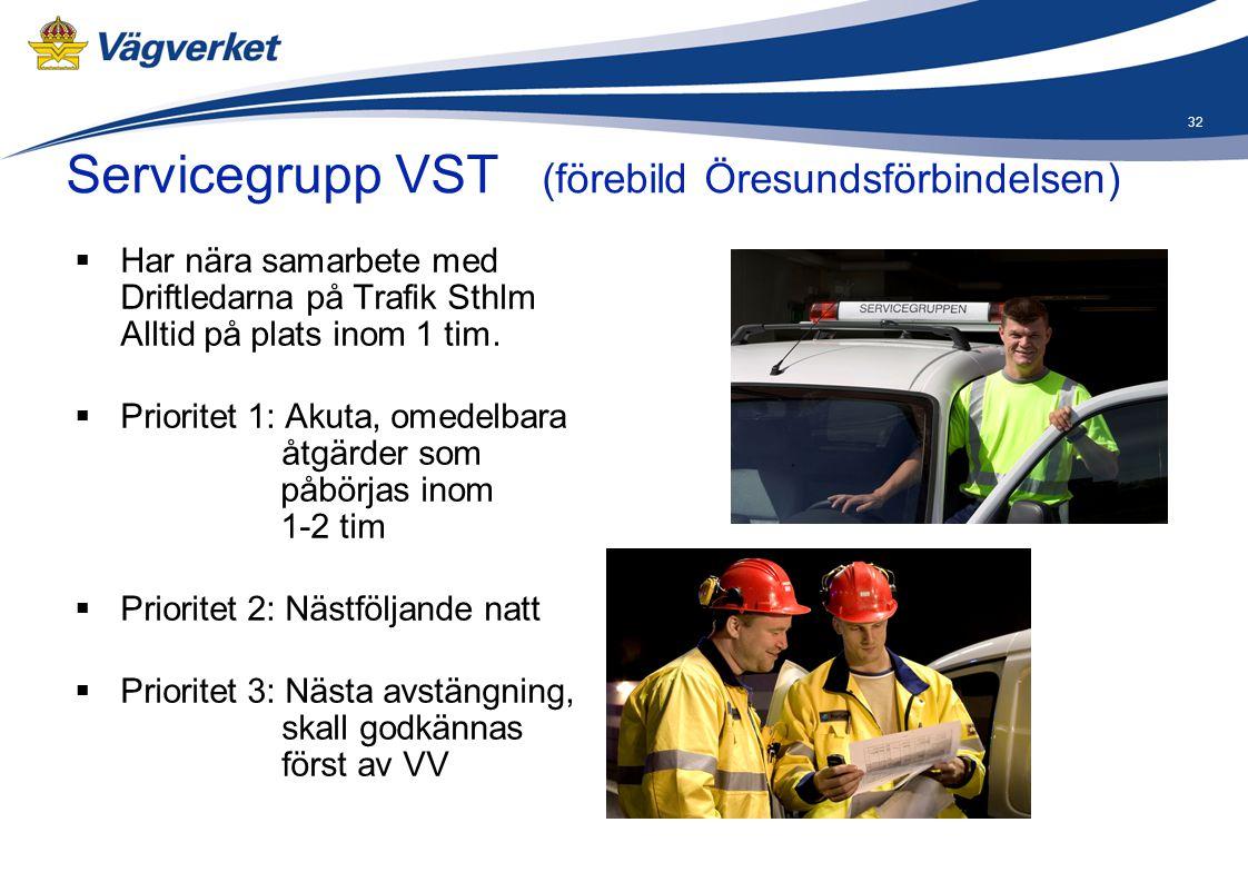 32  Har nära samarbete med Driftledarna på Trafik Sthlm Alltid på plats inom 1 tim.  Prioritet 1: Akuta, omedelbara åtgärder som påbörjas inom 1-2 t