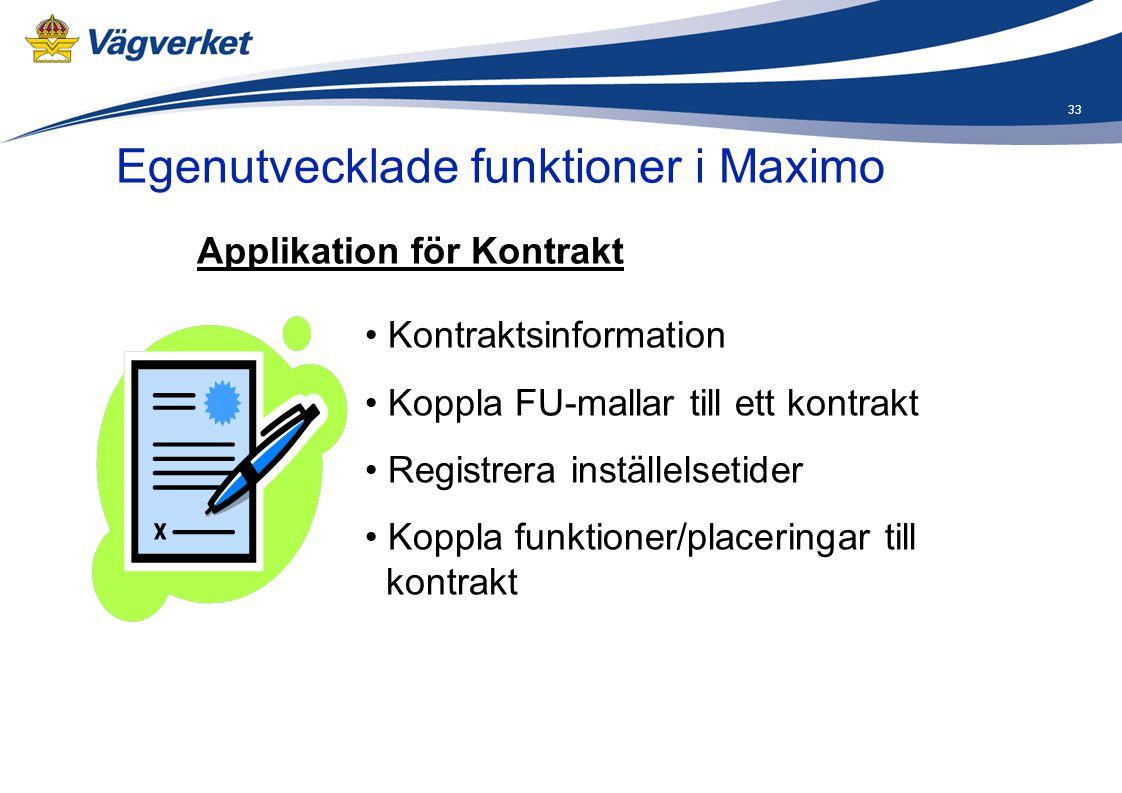33 Egenutvecklade funktioner i Maximo • Kontraktsinformation • Koppla FU-mallar till ett kontrakt • Registrera inställelsetider • Koppla funktioner/pl