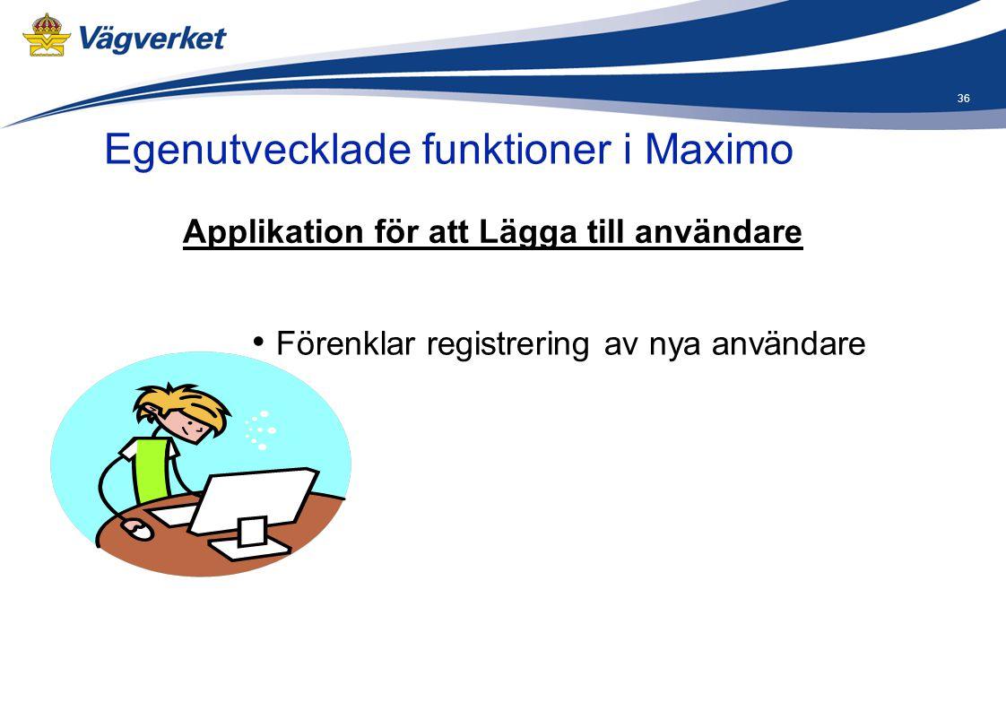 36 Egenutvecklade funktioner i Maximo Applikation för att Lägga till användare • Förenklar registrering av nya användare