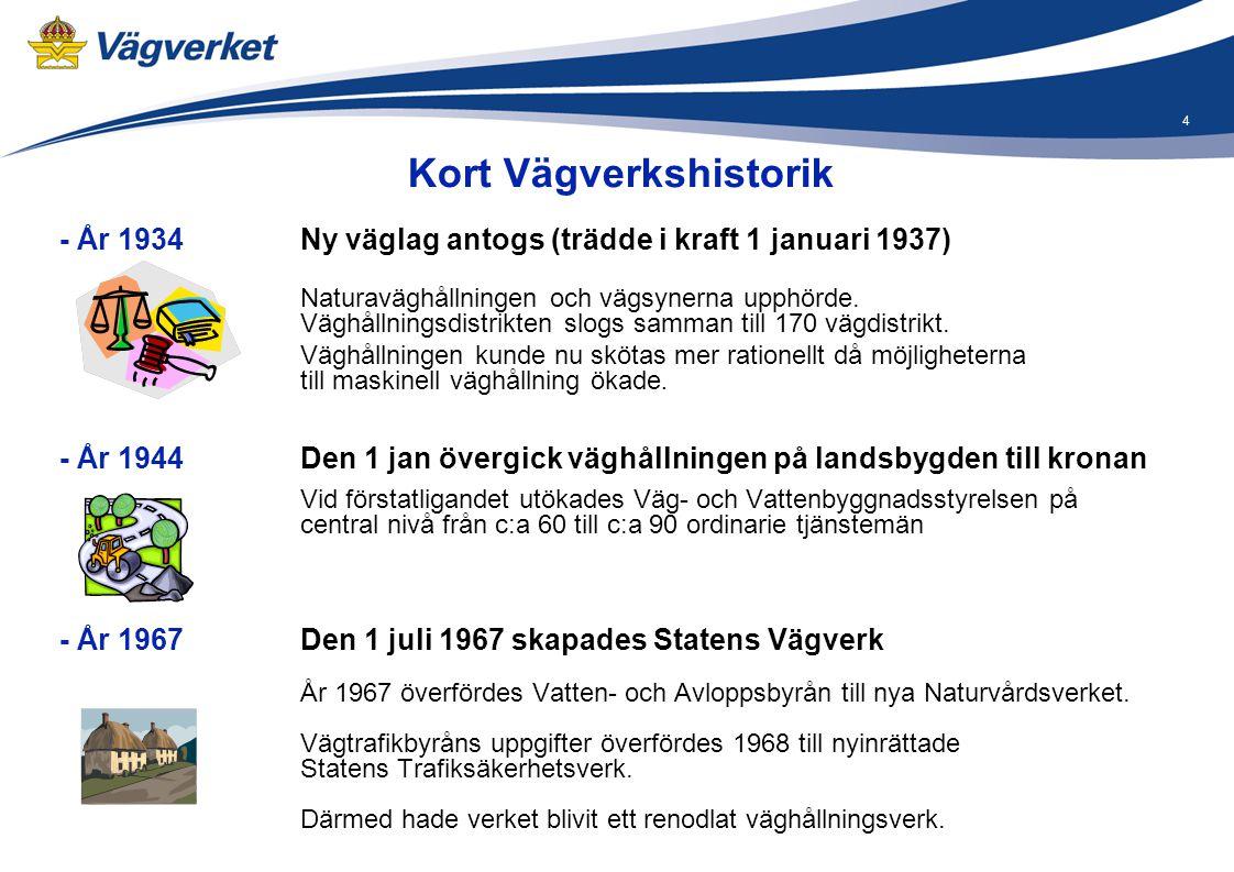 4 - År 1934 Ny väglag antogs (trädde i kraft 1 januari 1937) Naturaväghållningen och vägsynerna upphörde. Väghållningsdistrikten slogs samman till 170