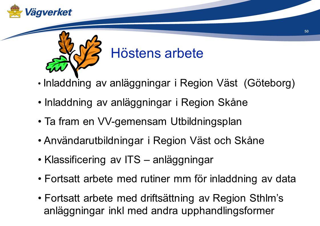 50 • Inladdning av anläggningar i Region Väst (Göteborg) • Inladdning av anläggningar i Region Skåne • Ta fram en VV-gemensam Utbildningsplan • Använd