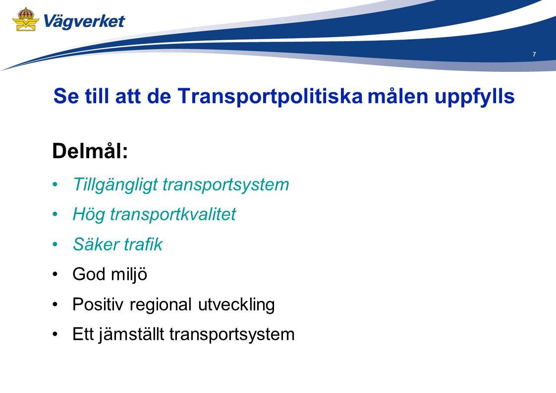 7 Se till att de Transportpolitiska målen uppfylls Delmål: •Tillgängligt transportsystem •Hög transportkvalitet •Säker trafik •God miljö •Positiv regi