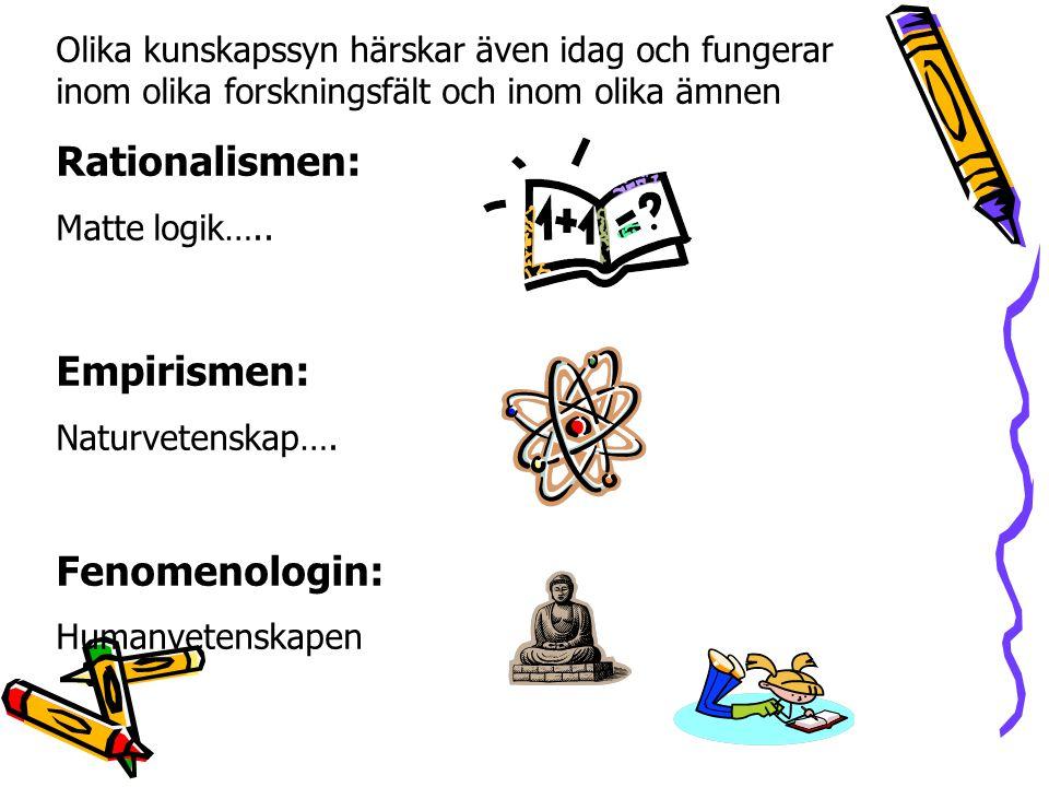 Olika kunskapssyn härskar även idag och fungerar inom olika forskningsfält och inom olika ämnen Rationalismen: Matte logik….. Empirismen: Naturvetensk