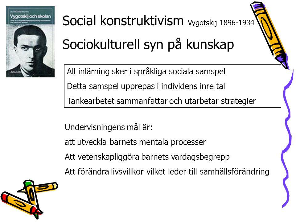 Social konstruktivism Vygotskij 1896-1934 Sociokulturell syn på kunskap All inlärning sker i språkliga sociala samspel Detta samspel upprepas i indivi