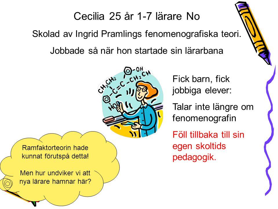 Cecilia 25 år 1-7 lärare No Skolad av Ingrid Pramlings fenomenografiska teori. Jobbade så när hon startade sin lärarbana Fick barn, fick jobbiga eleve