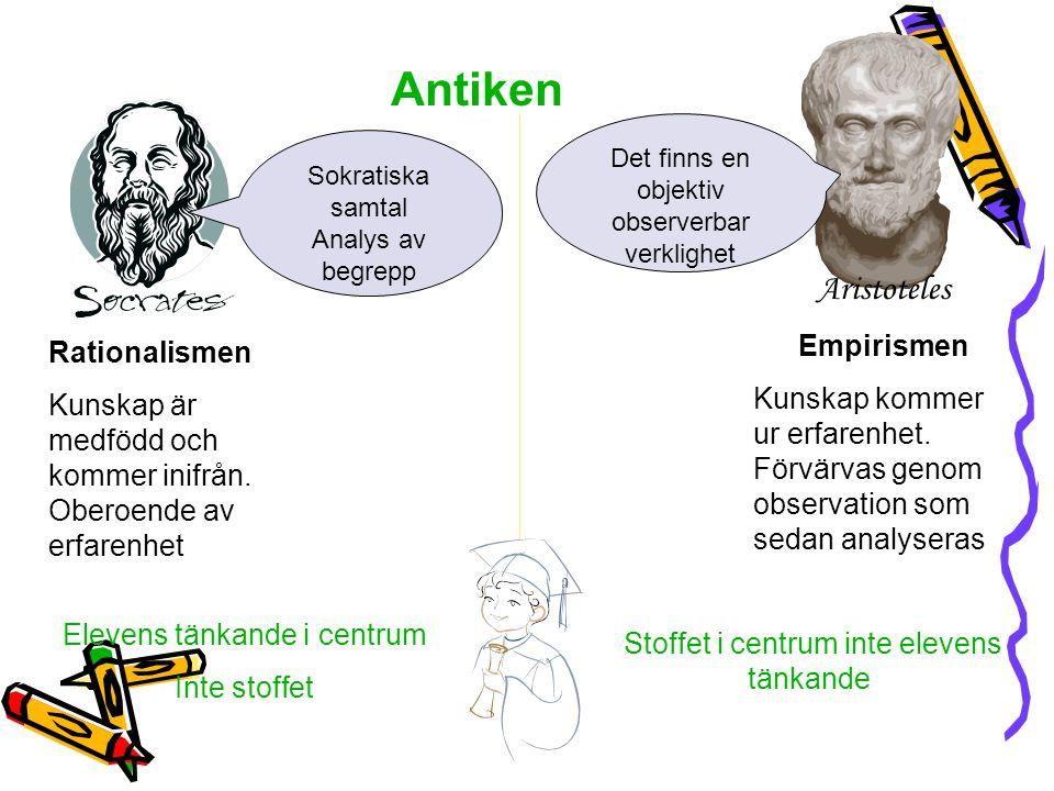 Rationalismen Kunskap är medfödd och kommer inifrån. Oberoende av erfarenhet Antiken Aristoteles Empirismen Kunskap kommer ur erfarenhet. Förvärvas ge