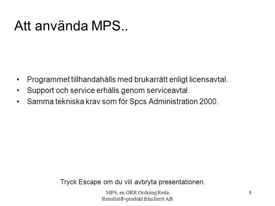 MPS, en ORR Ordning Reda Resultat®-produkt från Iterit AB 8 Att använda MPS..
