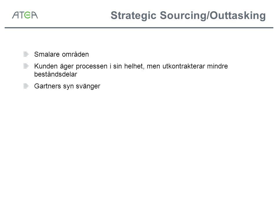 Strategic Sourcing/Outtasking Smalare områden Kunden äger processen i sin helhet, men utkontrakterar mindre beståndsdelar Gartners syn svänger