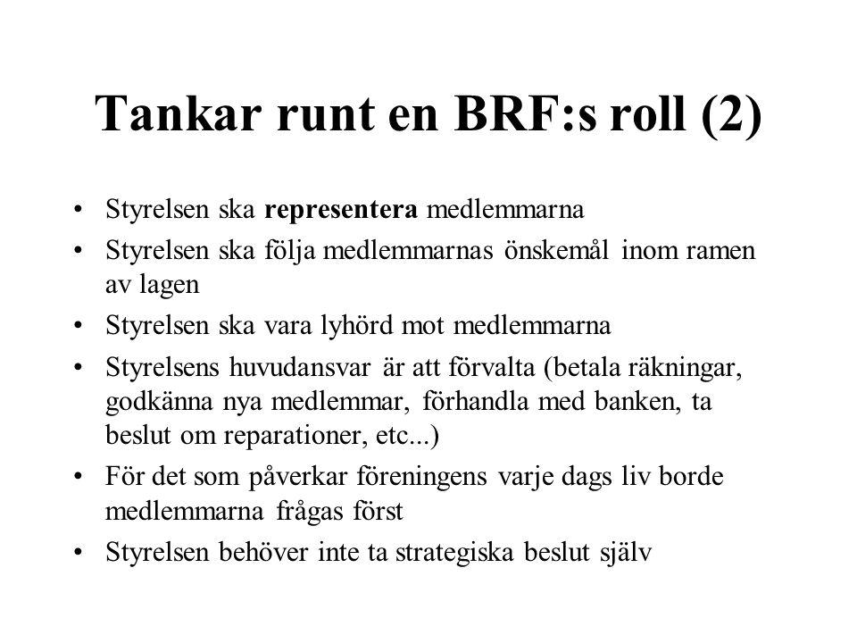 Tankar runt en BRF:s roll (2) •Styrelsen ska representera medlemmarna •Styrelsen ska följa medlemmarnas önskemål inom ramen av lagen •Styrelsen ska va