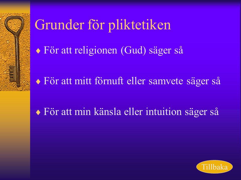 Grunder för pliktetiken  För att religionen (Gud) säger så  För att mitt förnuft eller samvete säger så  För att min känsla eller intuition säger s