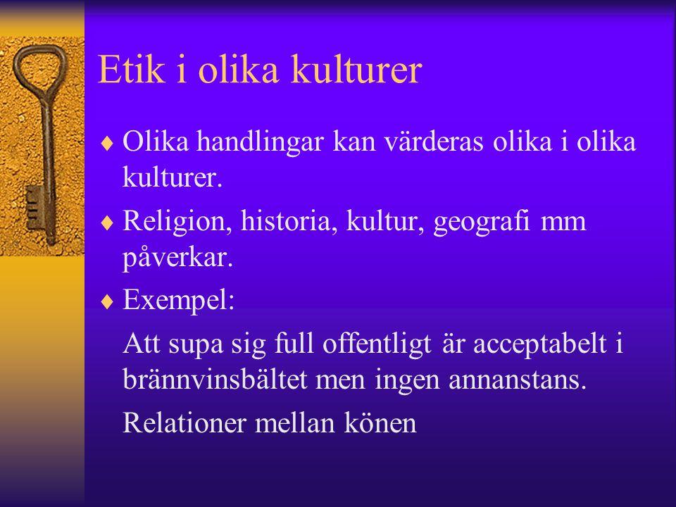 Etik i olika kulturer  Olika handlingar kan värderas olika i olika kulturer.  Religion, historia, kultur, geografi mm påverkar.  Exempel: Att supa