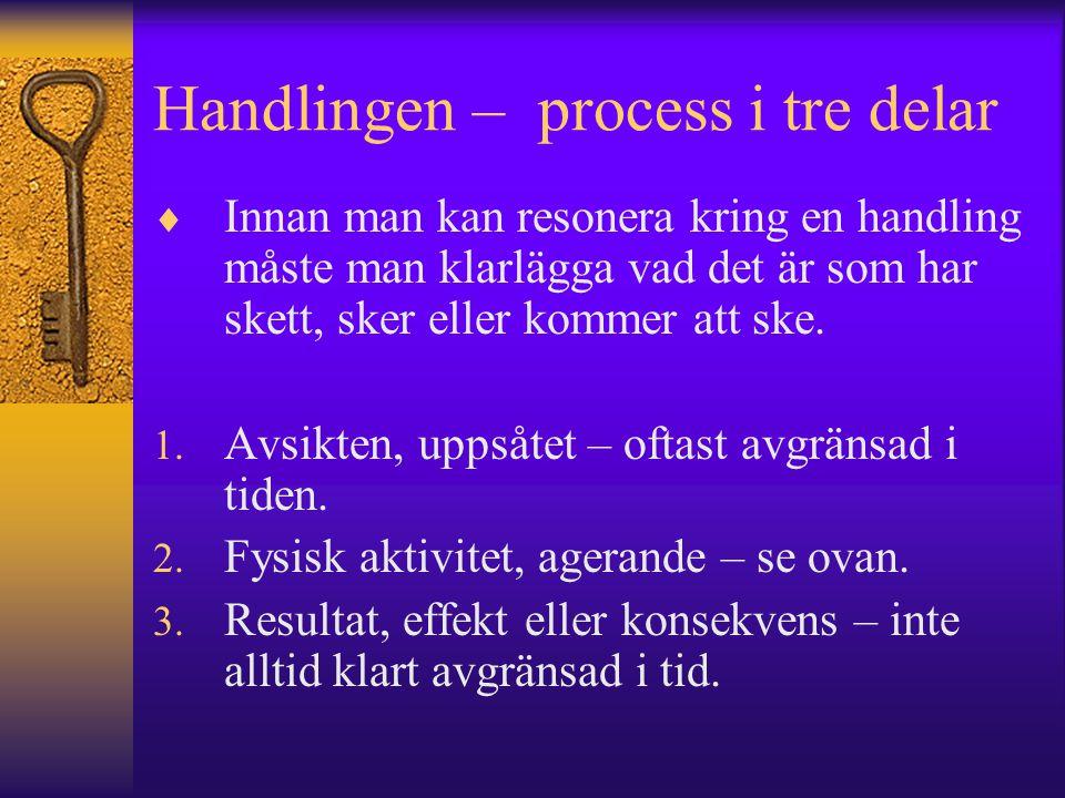 Handlingen – process i tre delar  Innan man kan resonera kring en handling måste man klarlägga vad det är som har skett, sker eller kommer att ske. 1