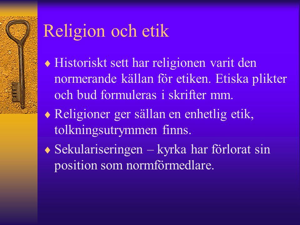 Religion och etik  Historiskt sett har religionen varit den normerande källan för etiken. Etiska plikter och bud formuleras i skrifter mm.  Religion