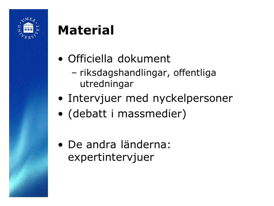 Material •Officiella dokument –riksdagshandlingar, offentliga utredningar •Intervjuer med nyckelpersoner •(debatt i massmedier) •De andra länderna: ex