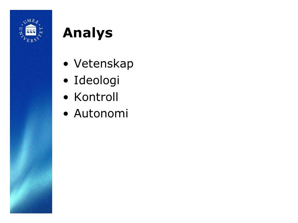 Analys •Vetenskap •Ideologi •Kontroll •Autonomi