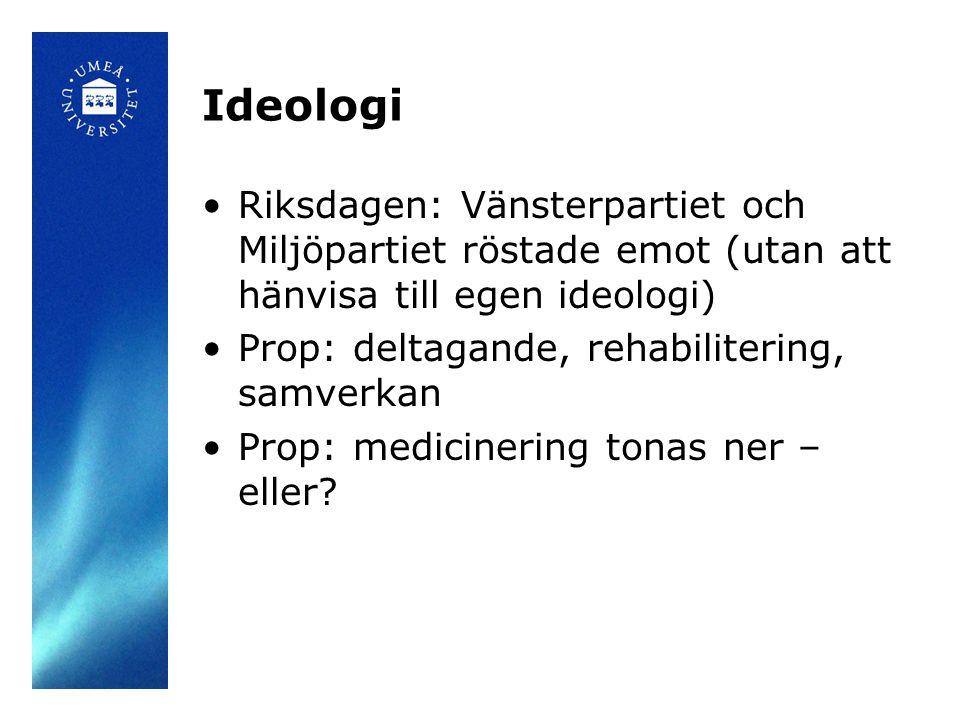 Ideologi •Riksdagen: Vänsterpartiet och Miljöpartiet röstade emot (utan att hänvisa till egen ideologi) •Prop: deltagande, rehabilitering, samverkan •