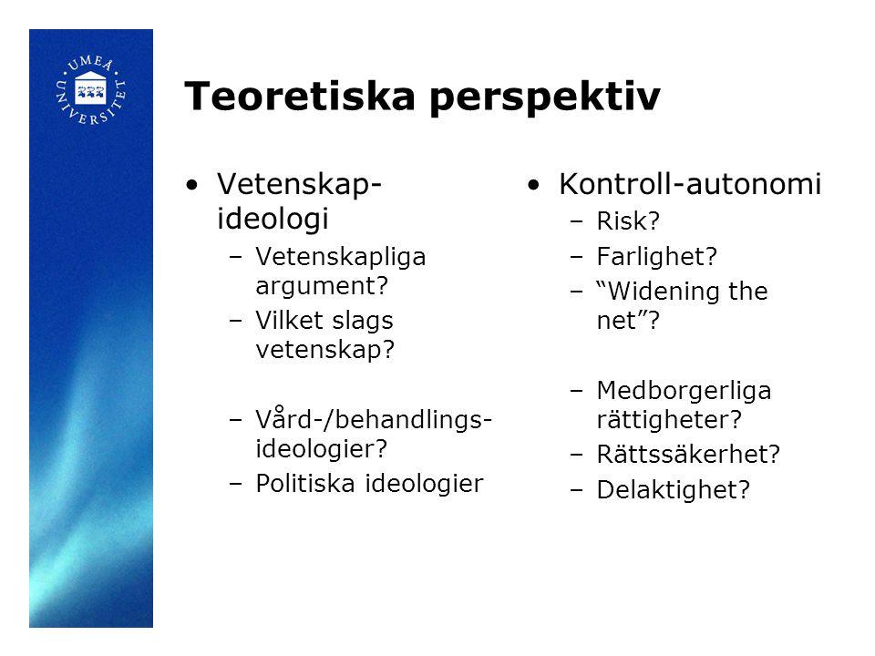 Teoretiska perspektiv •Vetenskap- ideologi –Vetenskapliga argument? –Vilket slags vetenskap? –Vård-/behandlings- ideologier? –Politiska ideologier •Ko