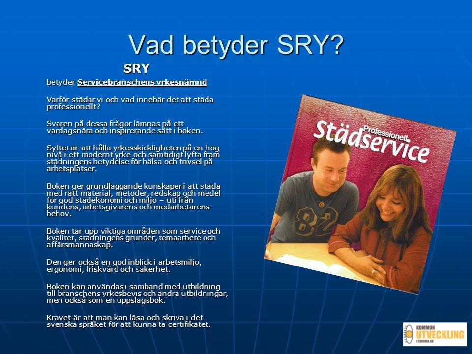 Vad betyder SRY? SRY betyder Servicebranschens yrkesnämnd Varför städar vi och vad innebär det att städa professionellt? Svaren på dessa frågor lämnas
