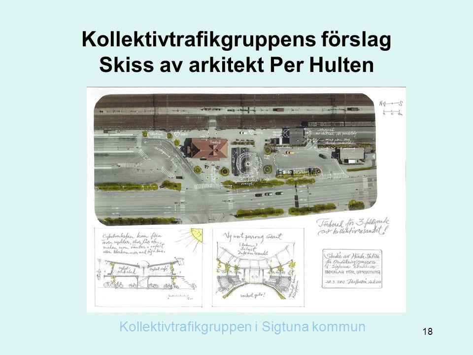 Kollektivtrafikgruppens förslag Skiss av arkitekt Per Hulten Kollektivtrafikgruppen i Sigtuna kommun 18