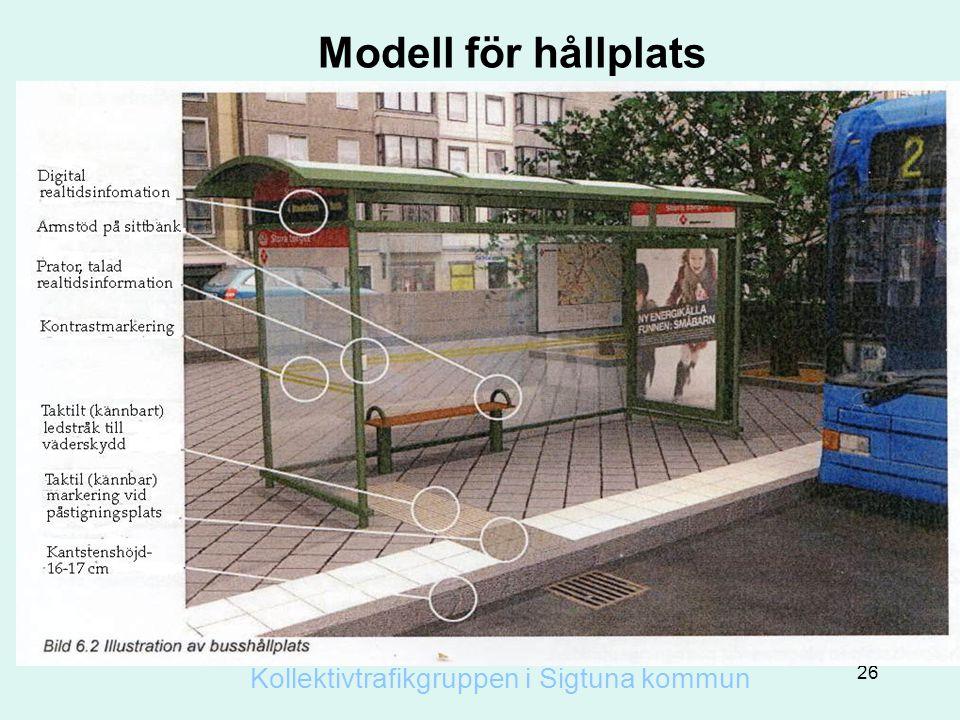 Modell för hållplats 26 Kollektivtrafikgruppen i Sigtuna kommun