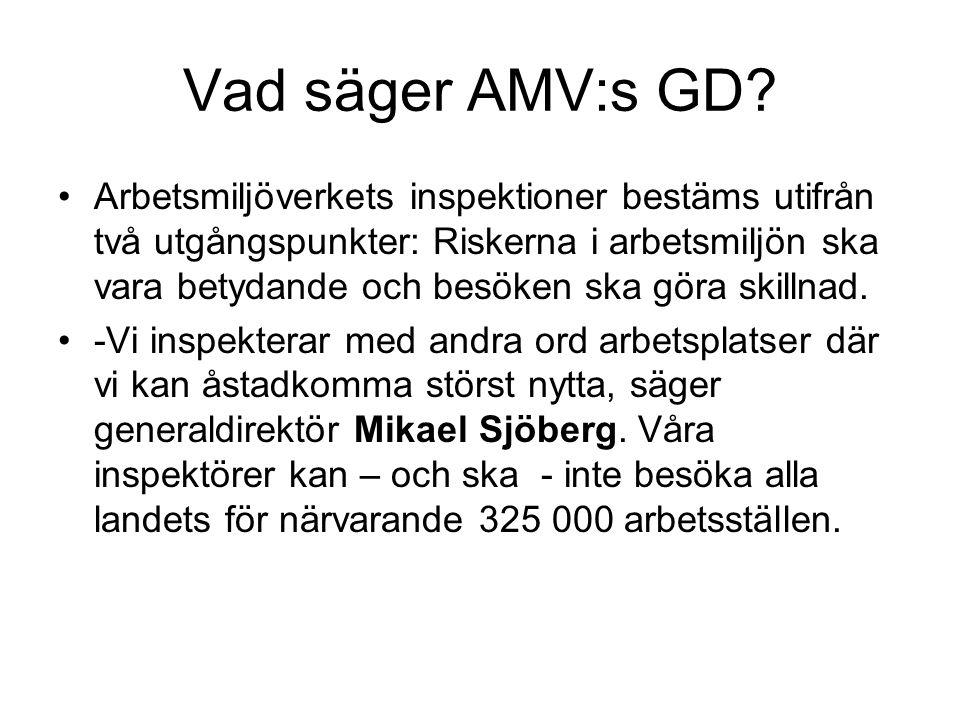 Vad säger AMV:s GD? •Arbetsmiljöverkets inspektioner bestäms utifrån två utgångspunkter: Riskerna i arbetsmiljön ska vara betydande och besöken ska gö