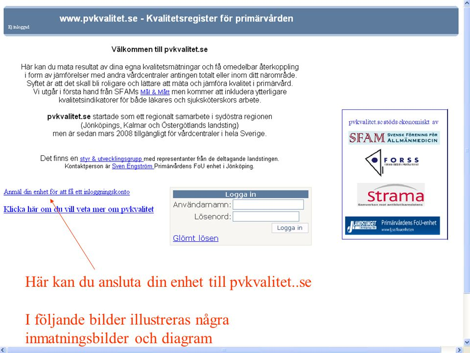 På denna sidan registrerar vårdcentralen uppgifter om befolkning mm Används bl.a.