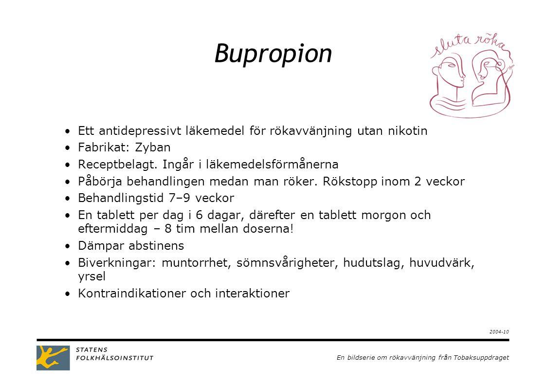 En bildserie om rökavvänjning från Tobaksuppdraget 2003-09 Bupropion •Ett antidepressivt läkemedel för rökavvänjning utan nikotin •Fabrikat: Zyban •Receptbelagt.