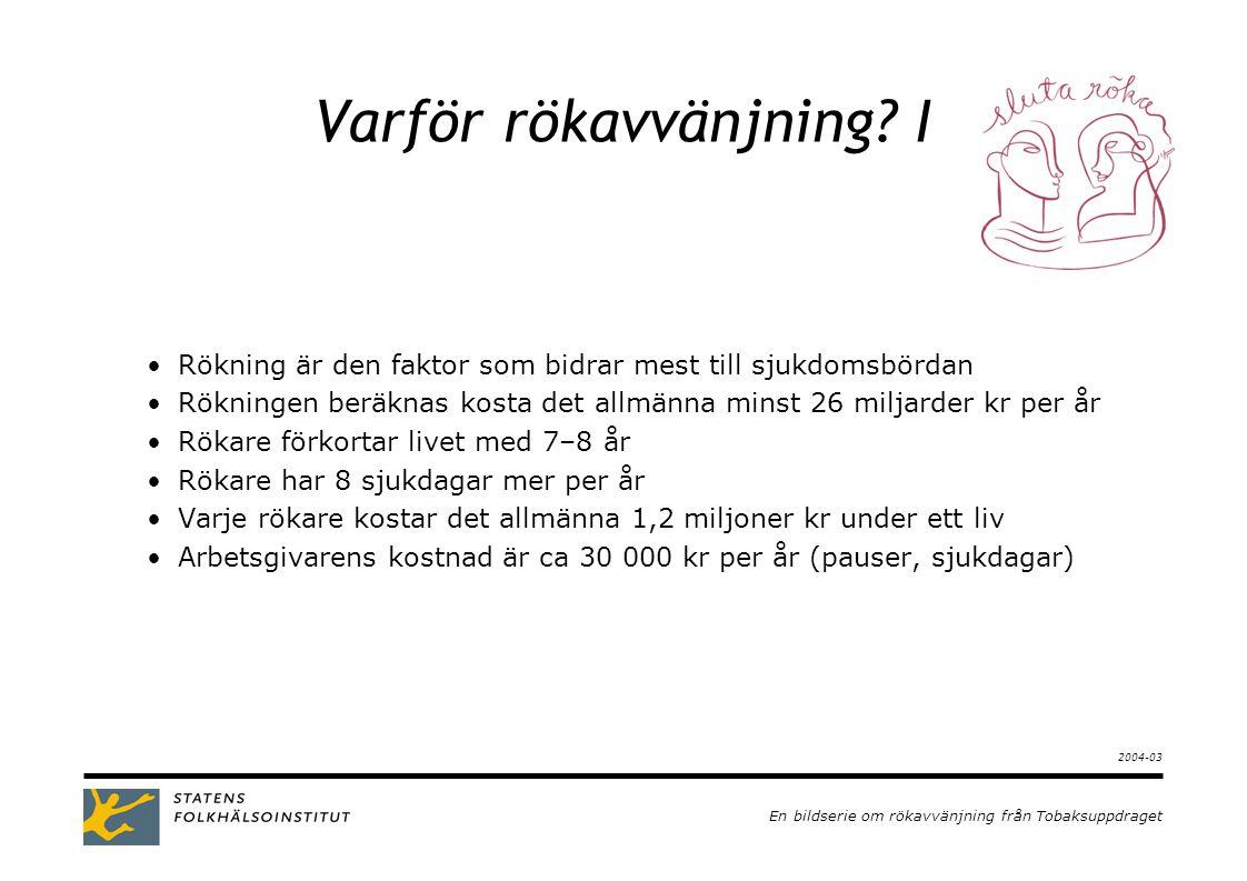 En bildserie om rökavvänjning från Tobaksuppdraget 2003-09 Varför rökavvänjning.