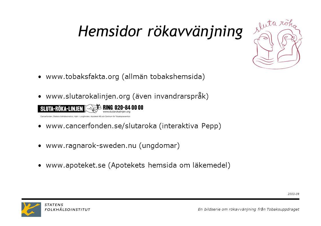 En bildserie om rökavvänjning från Tobaksuppdraget 2003-09 Hemsidor rökavvänjning •www.tobaksfakta.org (allmän tobakshemsida) •www.slutarokalinjen.org (även invandrarspråk) •www.cancerfonden.se/slutaroka (interaktiva Pepp) •www.ragnarok-sweden.nu (ungdomar) •www.apoteket.se (Apotekets hemsida om läkemedel)