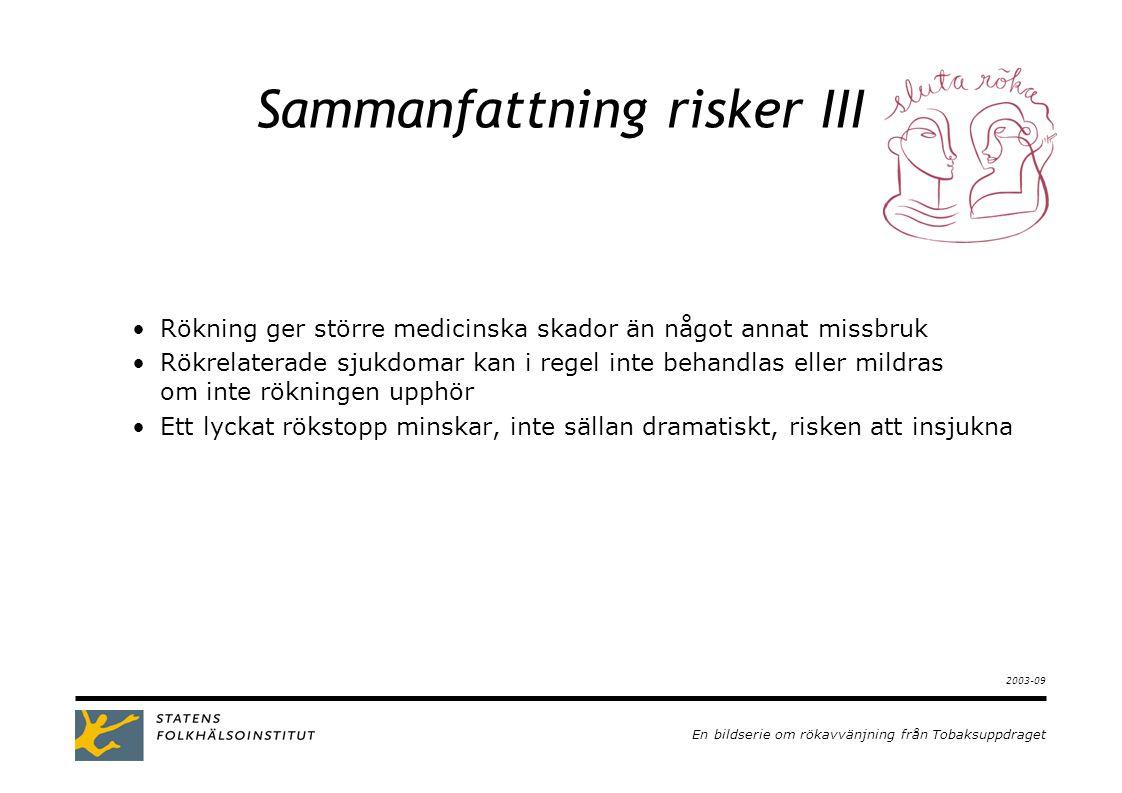 En bildserie om rökavvänjning från Tobaksuppdraget 2003-09 Sammanfattning risker III •Rökning ger större medicinska skador än något annat missbruk •Rökrelaterade sjukdomar kan i regel inte behandlas eller mildras om inte rökningen upphör •Ett lyckat rökstopp minskar, inte sällan dramatiskt, risken att insjukna