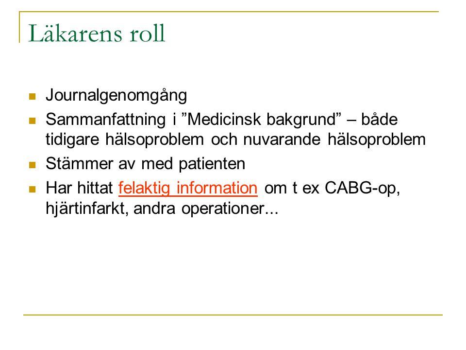 """Läkarens roll  Journalgenomgång  Sammanfattning i """"Medicinsk bakgrund"""" – både tidigare hälsoproblem och nuvarande hälsoproblem  Stämmer av med pati"""