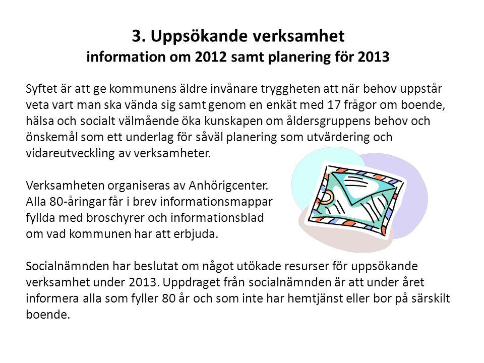 3. Uppsökande verksamhet information om 2012 samt planering för 2013 Syftet är att ge kommunens äldre invånare tryggheten att när behov uppstår veta v
