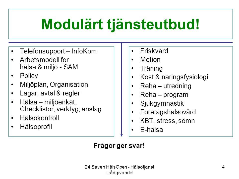 24 Seven HälsOpen - Hälsotjänst - rådgivande. 4 Modulärt tjänsteutbud.