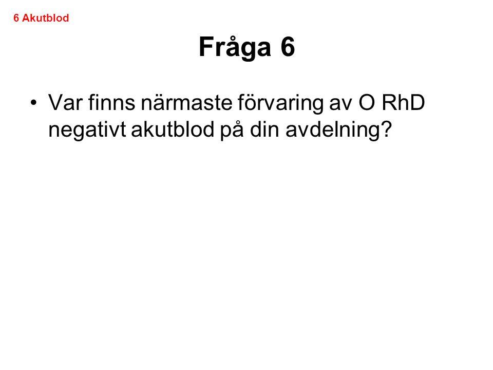 Fråga 6 •Var finns närmaste förvaring av O RhD negativt akutblod på din avdelning? 6 Akutblod