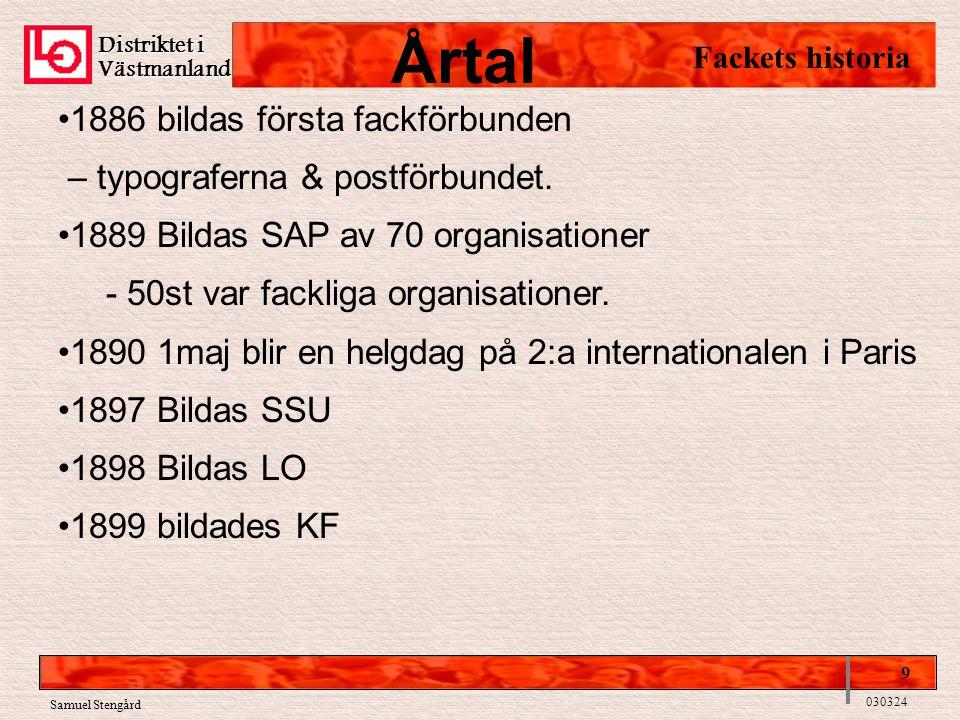 Distriktet i Västmanland Fackets historia 9 030324 •1886 bildas första fackförbunden – typograferna & postförbundet. •1889 Bildas SAP av 70 organisati